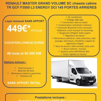 Offre de Location Longue Durée LLD - renault master - Ucar Sens